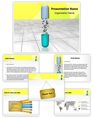 Medical Capsule Pills Editable 3D PPT Template