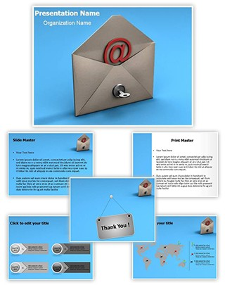 Email Security Key Editable 3D PPT Template