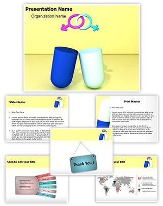 Gender Symbol Pill Editable 3D PPT Template