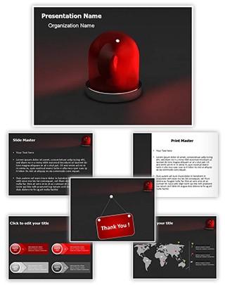 Red Siren Light Editable 3D PPT Template