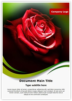 Red Rose in Dark Editable Word Template
