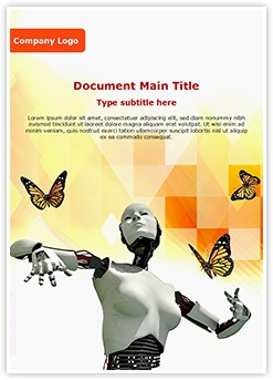 Robotic Science and butterflies Editable Word Template