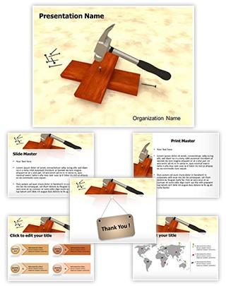Hammer Nail Titanium Editable 3D PPT Template