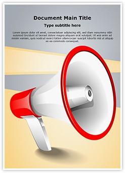 Advertisement Broadcasting Megaphone Editable Word Template