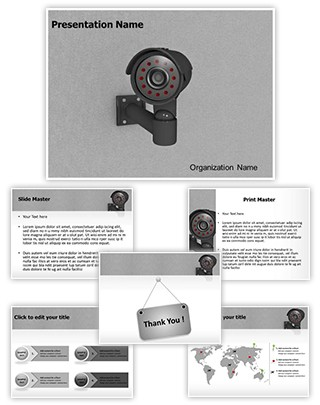 Security CCTV Camera Editable 3D PPT Template