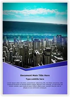 Tsunami Wave Editable Word Template