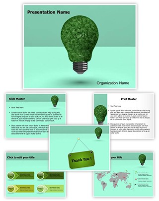 Green Energy Saver Editable 3D PPT Template
