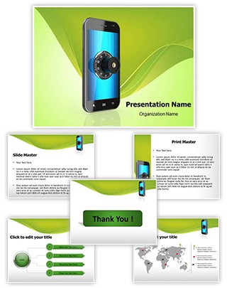 Mobile Security Lock Editable PowerPoint Template