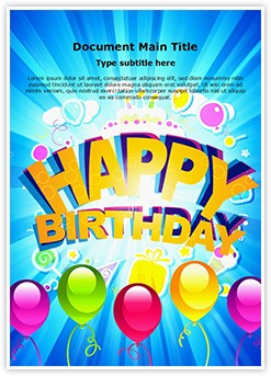 Happy Birthday Abstract Editable Word Template