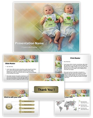Twins Babies Editable PowerPoint Template
