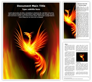 Rebirth Burning Phoenix Editable Word Document Template