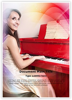 Lady On Piano Editable Word Template