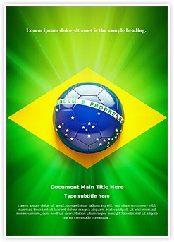 Brazil Football Flag Editable Word Template