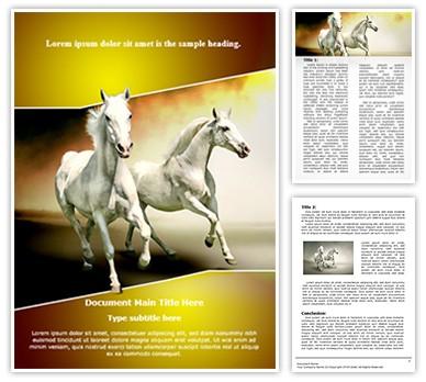 White Horses Editable Word Document Template