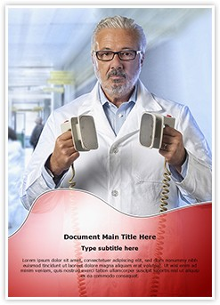 Doctor with defibrillator Editable Word Template