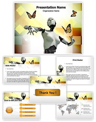 Robotic Science And Butterflies Editable PowerPoint Template