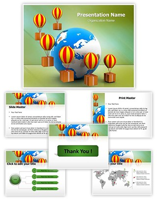 Cargo Delivery And Globe Editable PowerPoint Template