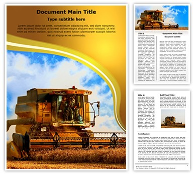 Combine Harvester Editable Word Document Template