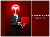 Businessman with Idea Editable PowerPoint Template