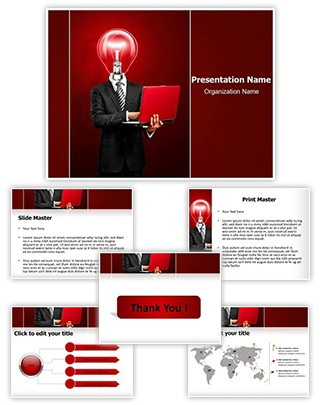 Businessman with Idea Editable PowerPoint Template