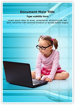 Kid using Laptop Editable Word Template