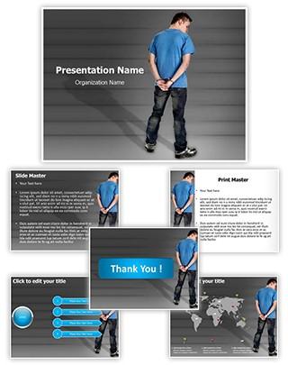 Handcuffed Man Editable PowerPoint Template