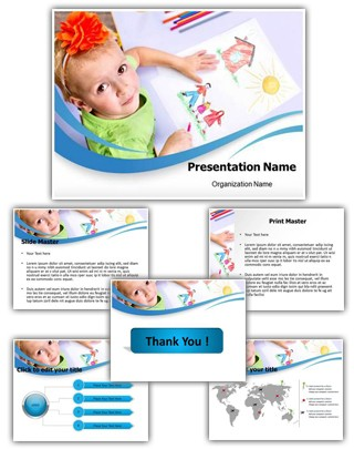 Children Drawings Editable PowerPoint Template
